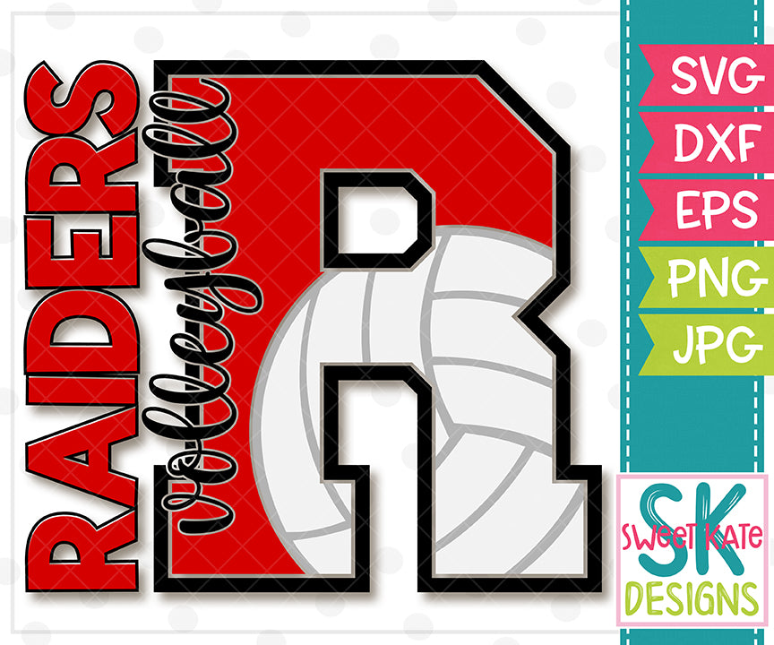 R Raiders Volleyball SVG DXF EPS PNG JPG - Sweet Kate Designs