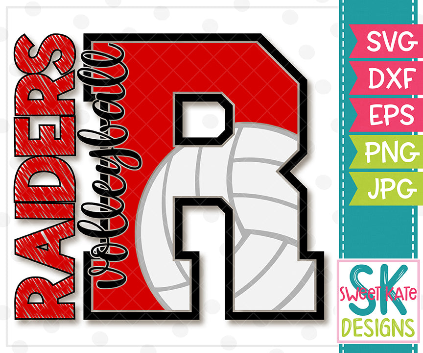 *NEW* R Raiders Volleyball SVG DXF EPS PNG JPG - Sweet Kate Designs