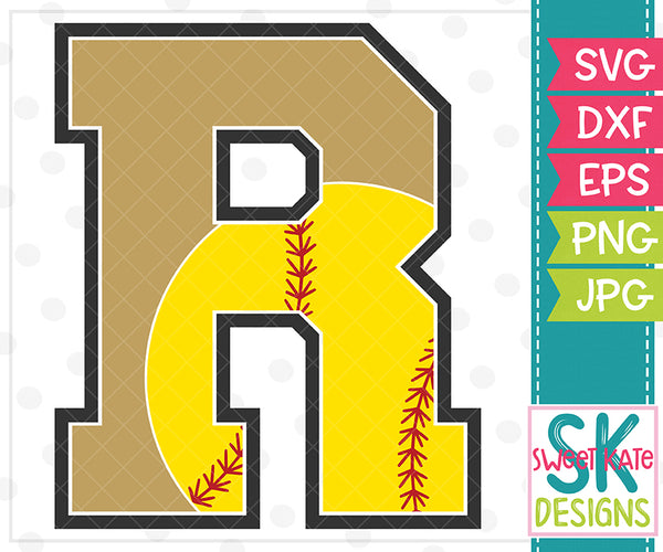 *NEW* R Softball SVG DXF EPS PNG JPG - Sweet Kate Designs
