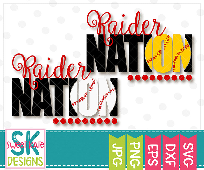 Raider Nation with Knockout Baseball or Softball SVG DXF EPS PNG JPG