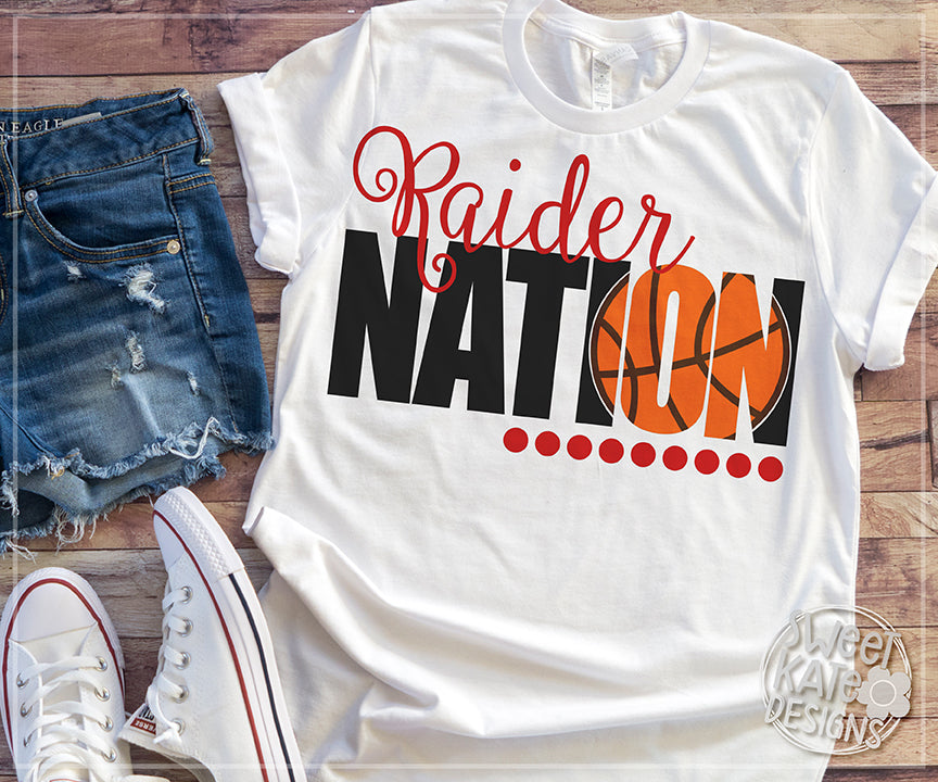 Raider Nation with Knockout Basketball SVG DXF EPS PNG JPG - Sweet Kate Designs