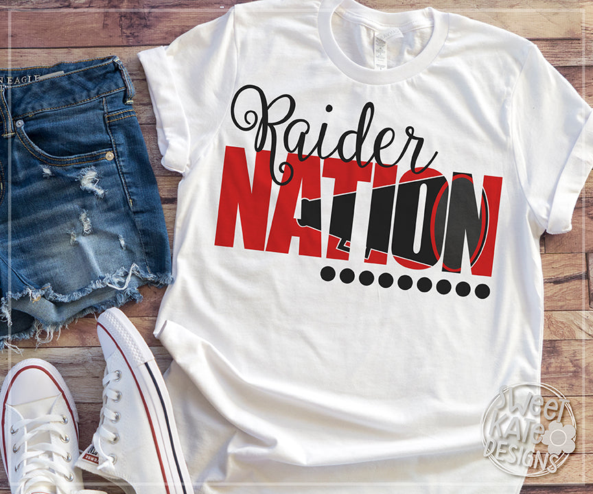 Raider Nation with Knockout Cheer Megaphone SVG DXF EPS PNG JPG - Sweet Kate Designs