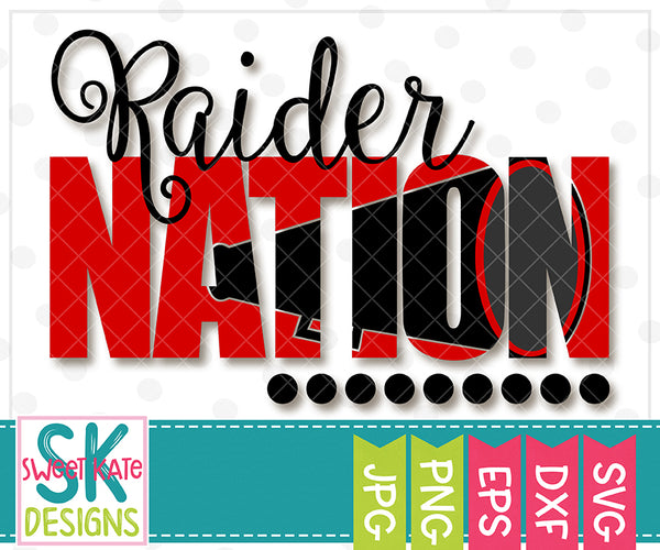 Raider Nation with Knockout Cheer Megaphone SVG DXF EPS PNG JPG
