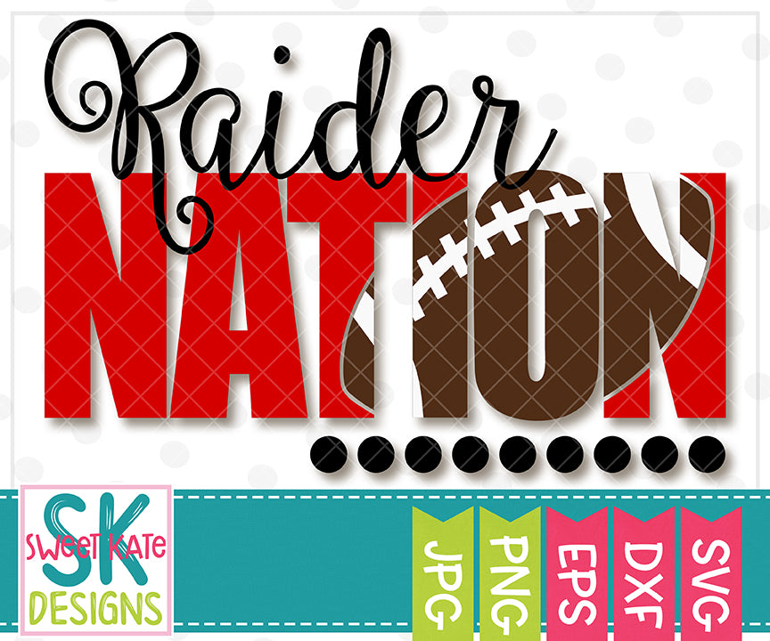 Raider Nation with Knockout Football SVG DXF EPS PNG JPG