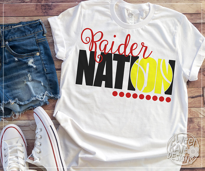 Raider Nation with Knockout Tennis Ball SVG DXF EPS PNG JPG - Sweet Kate Designs