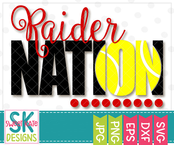 Raider Nation with Knockout Tennis Ball SVG DXF EPS PNG JPG {NEW UNTIL 3/15}