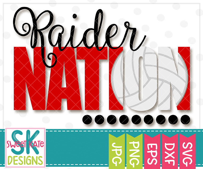 Raider Nation with Knockout Volleyball SVG DXF EPS PNG JPG - Sweet Kate Designs