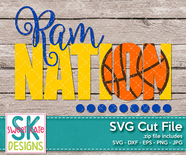 Ram Nation with Knockout Basketball SVG DXF EPS PNG JPG {New Until 1/14}