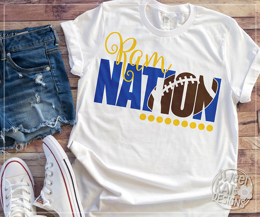 Ram Nation with Knockout Football SVG DXF EPS PNG JPG - Sweet Kate Designs