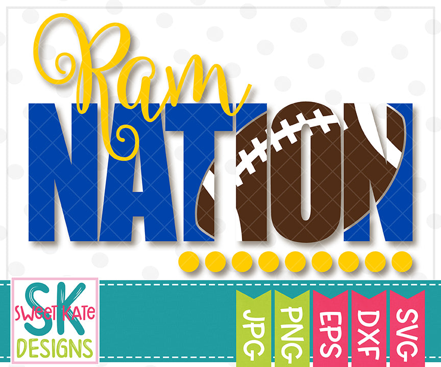Ram Nation with Knockout Football SVG DXF EPS PNG JPG