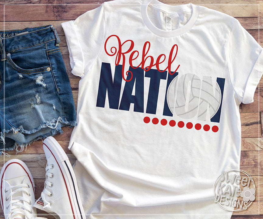 Rebel Nation with Knockout Volleyball SVG DXF EPS PNG JPG - Sweet Kate Designs