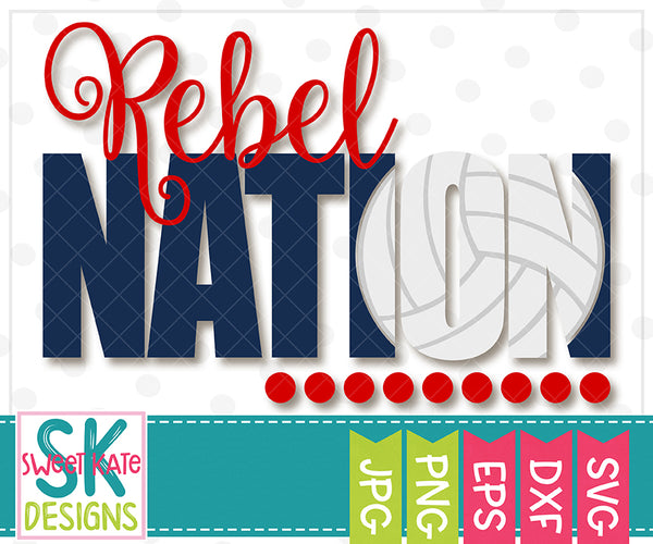 Rebel Nation with Knockout Volleyball SVG DXF EPS PNG JPG