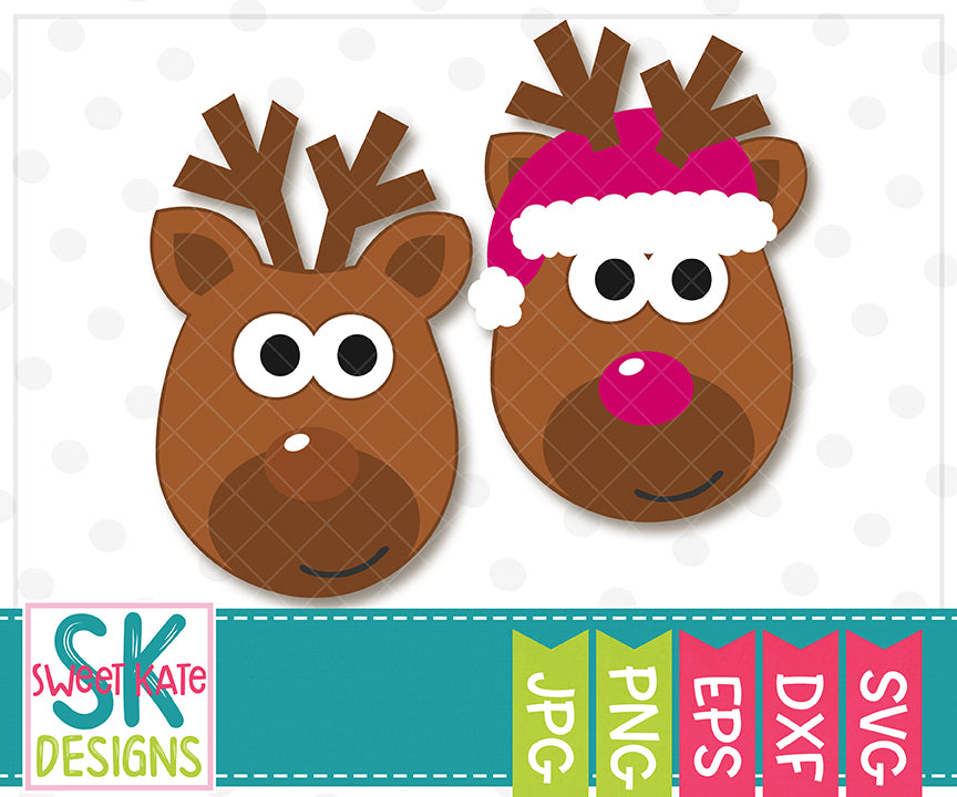 Reindeer Heads SVG DXF EPS PNG JPG - Sweet Kate Designs
