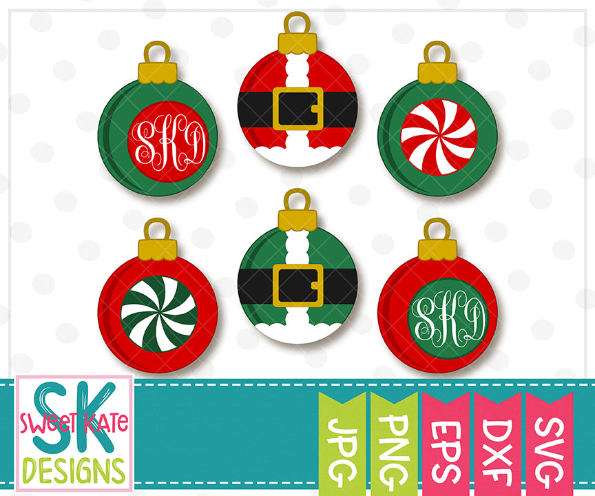 Santa Ornaments SVG DXF EPS PNG JPG - Sweet Kate Designs