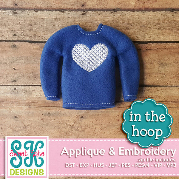 In the Hoop: Santa's Elf Sweater Heart Embroidery