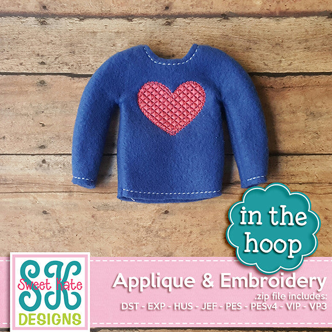 In the Hoop: Santa's Elf Sweater Heart Embroidery - Sweet Kate Designs