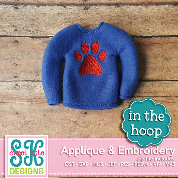 In the Hoop: Santa's Elf Sweater Paw Print Embroidery