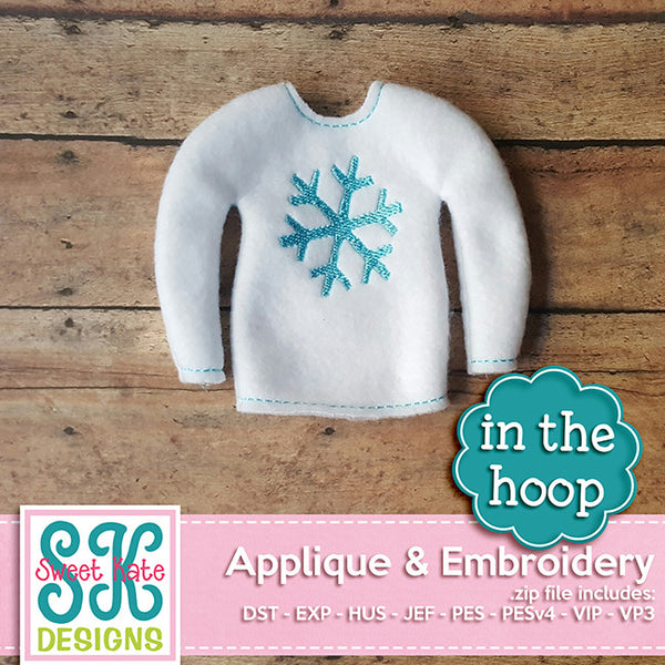 In the Hoop: Santa's Elf Sweater Snowflake Embroidery - Sweet Kate Designs