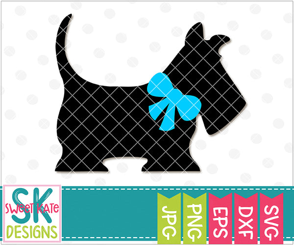 Scotty Dog with Bow SVG DXF EPS PNG JPG - Sweet Kate Designs