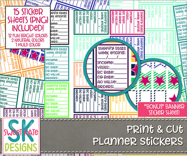 Print & Cut Planner Stickers: Shopify Stats Stickers - Sweet Kate Designs
