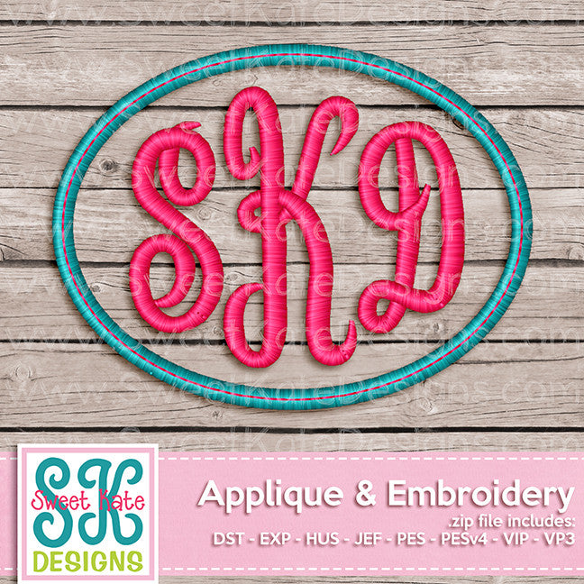 Simple Oval Monogram Frame - Sweet Kate Designs