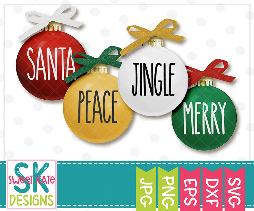 Skinny Christmas Words SVG DXF EPS PNG JPG - Sweet Kate Designs