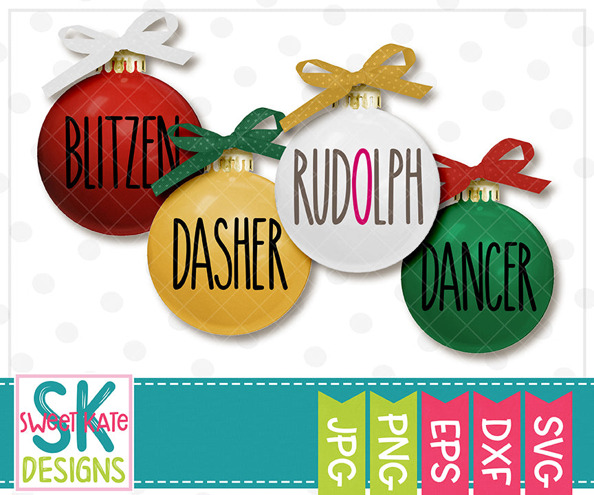 Skinny Reindeer Names SVG DXF EPS PNG JPG - Sweet Kate Designs