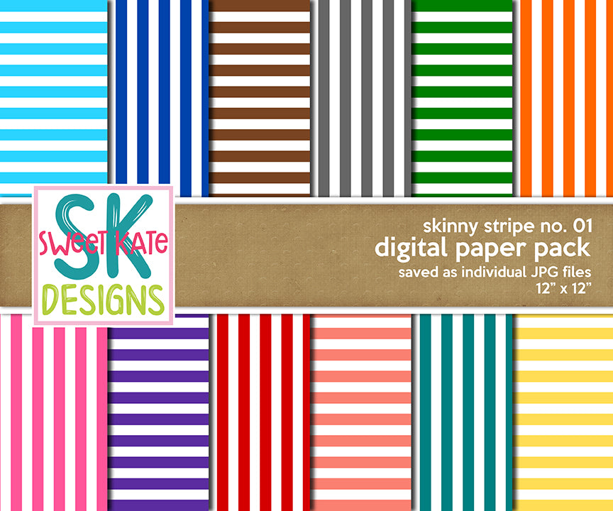 Skinny Stripe No. 01 - Digital Paper Pack - Sweet Kate Designs