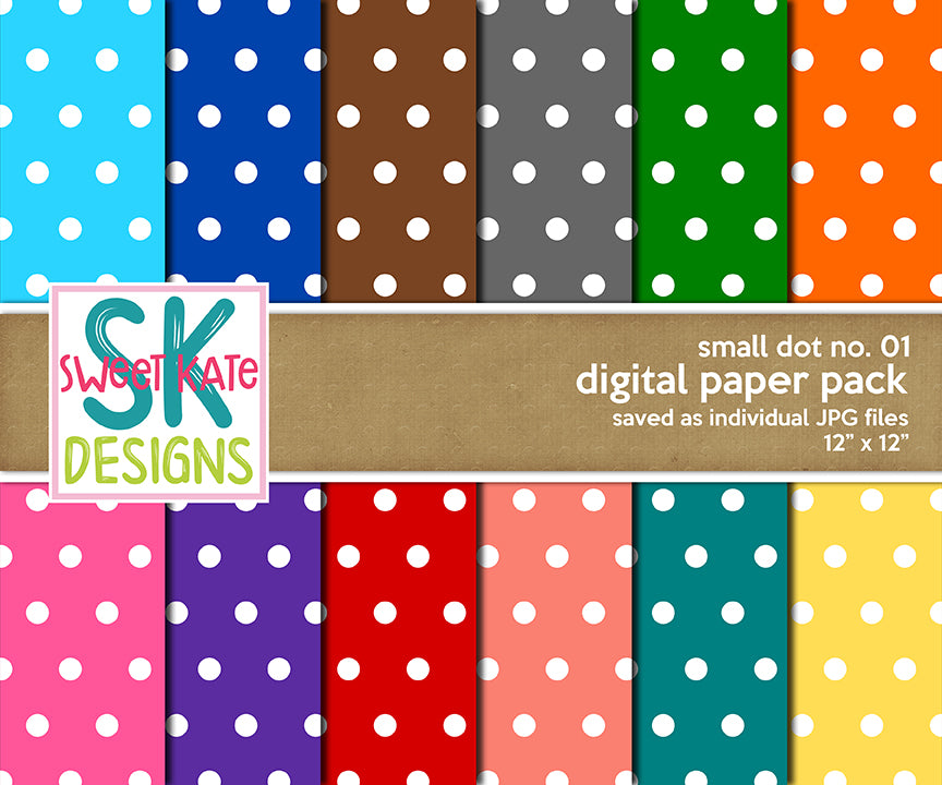 Small Dot No. 01 - Digital Paper Pack - Sweet Kate Designs