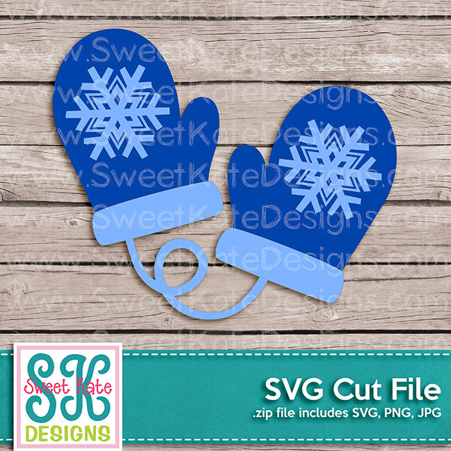 Snowflake Mittens SVG - Sweet Kate Designs