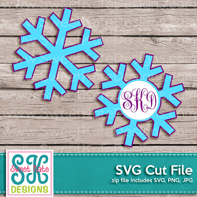 Snowflake with Monogram Option SVG - Sweet Kate Designs