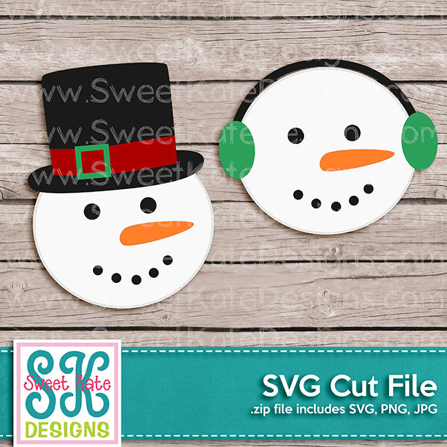 Snowman Heads SVG - Sweet Kate Designs
