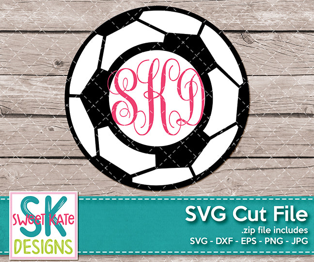 Soccer Ball with Circle Monogram SVG DXF EPS PNG JPG - Sweet Kate Designs