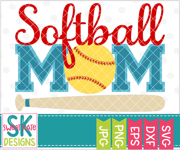 Softball Mom SVG DXF EPS PNG JPG - Sweet Kate Designs