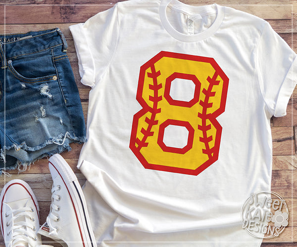 Softball Numbers 0-9 SVG DXF EPS PNG JPG - Sweet Kate Designs