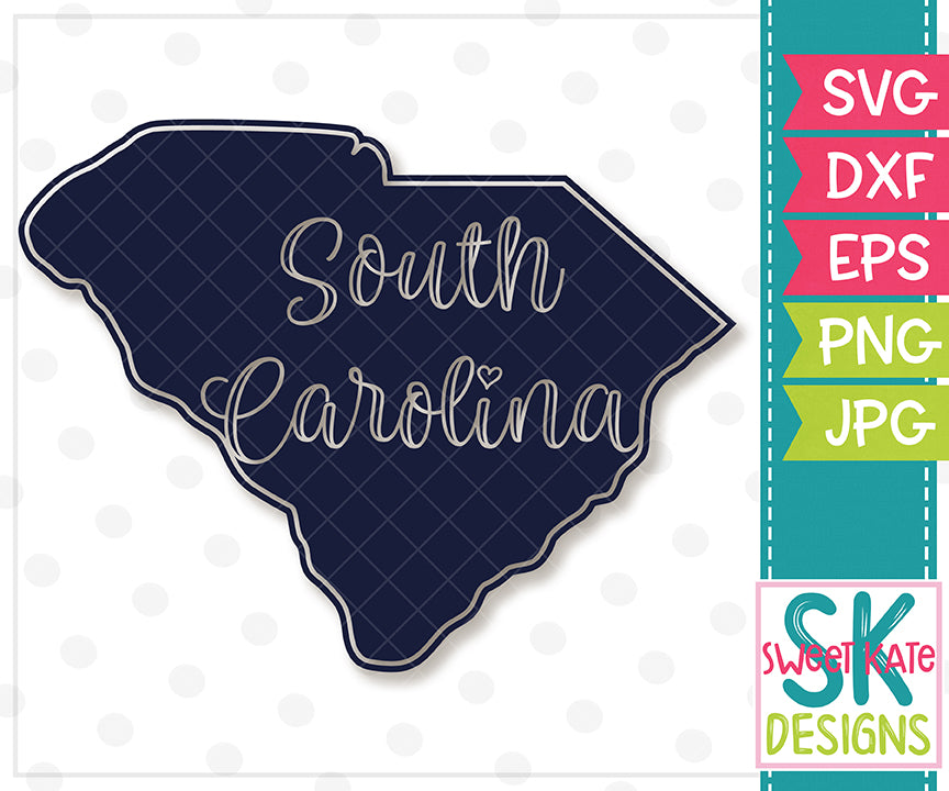 South Carolina Script Silhouette SVG DXF EPS PNG JPG - Sweet Kate Designs