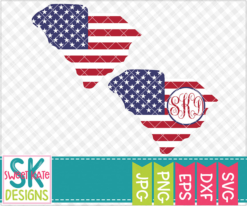 South Carolina USA Flag with Monogram Option SVG DXF EPS PNG JPG - Sweet Kate Designs