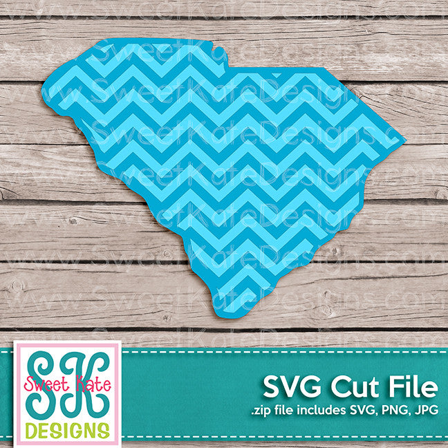 South Carolina with Chevron Pattern SVG - Sweet Kate Designs