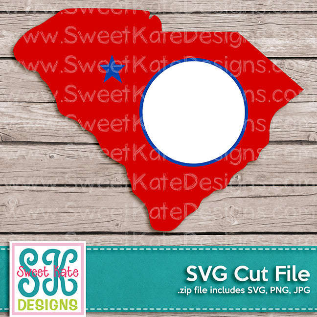 South Carolina with Monogram Option SVG - Sweet Kate Designs
