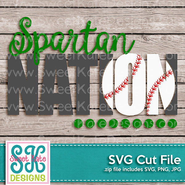 Spartan Nation with Knockout Baseball or Softball SVG - Sweet Kate Designs