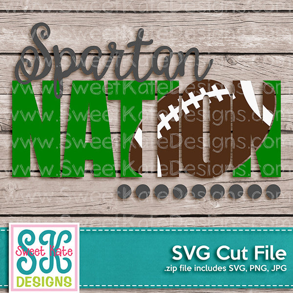 Spartan Nation with Knockout Football SVG - Sweet Kate Designs