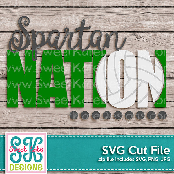 Spartan Nation with Knockout Volleyball SVG - Sweet Kate Designs