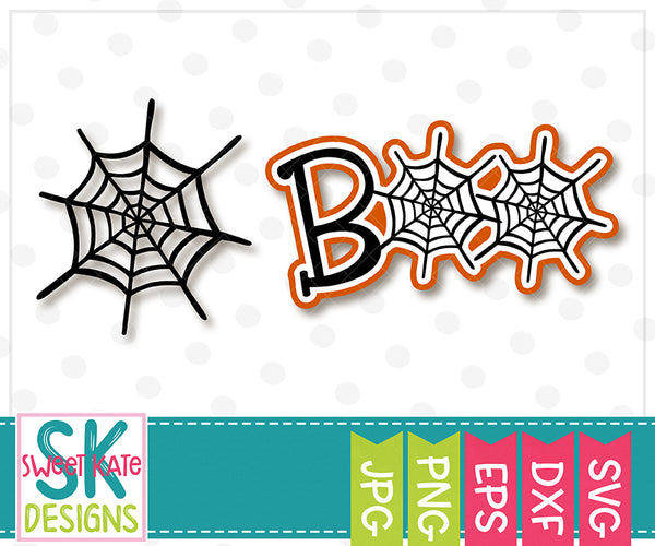 Boo with Spider Web SVG DXF EPS PNG JPG - Sweet Kate Designs