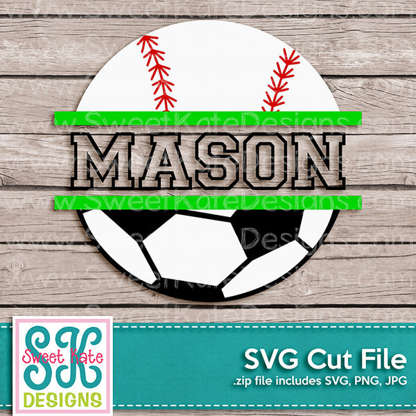 Split Baseball or Softball and Soccer Ball SVG - Sweet Kate Designs