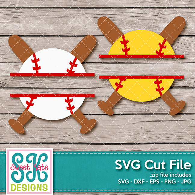 Split Baseball or Softball with Crossed Bats SVG DXF EPS PNG JPG - Sweet Kate Designs