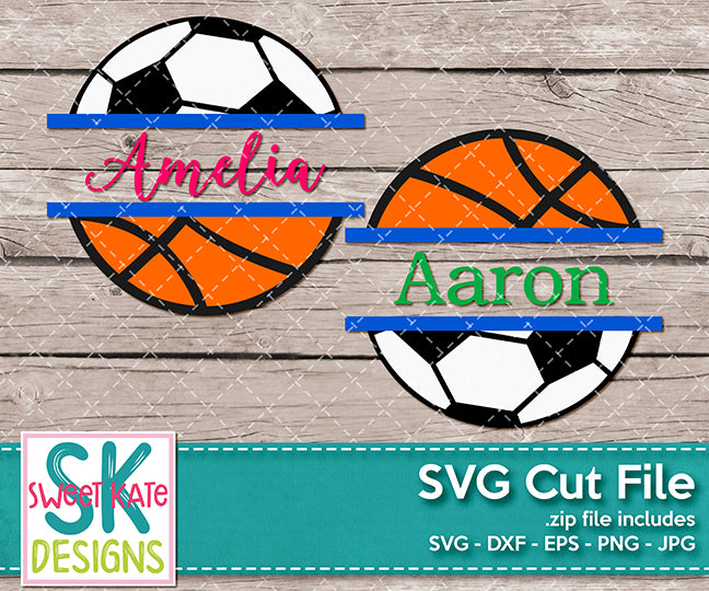 Split Basketball and Soccer Ball SVG DXF EPS PNG JPG - Sweet Kate Designs