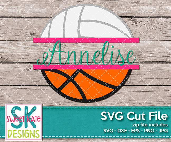 Split Basketball and Volleyball - Sweet Kate Designs