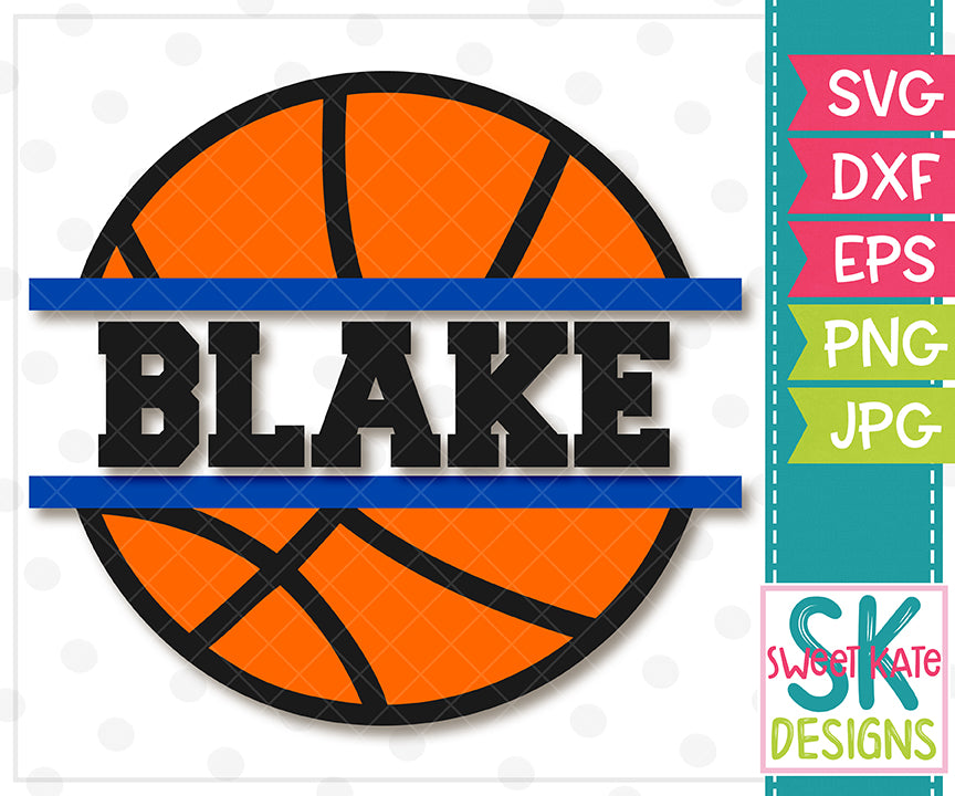 Split Basketball SVG DXF EPS PNG JPG - Sweet Kate Designs