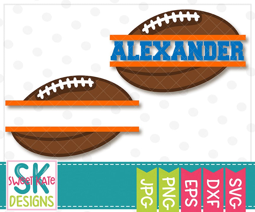 Split Football 02 SVG DXF EPS PNG JPG - Sweet Kate Designs