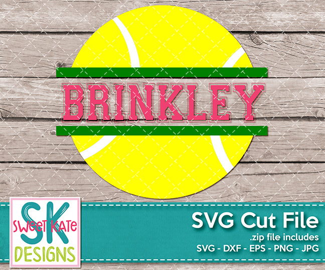 Split Tennis Ball SVG DXF EPS PNG JPG - Sweet Kate Designs